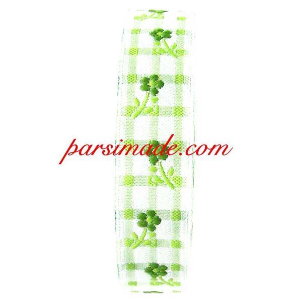 روبان چهارخانه گلدار زمینه سبز