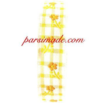 روبان چهارخانه گلدار زمینه زرد