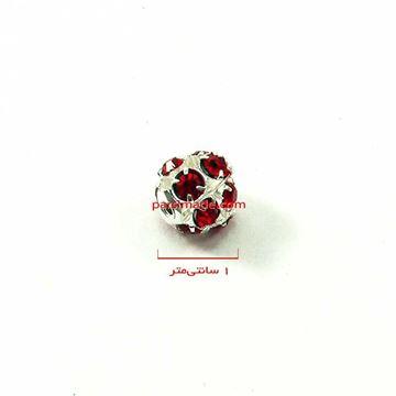مهره توپی با نگین های کریستالی قرمز