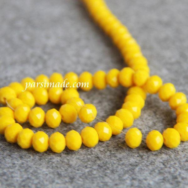 سنگ کریستالی تراش دار زرد سایز 8