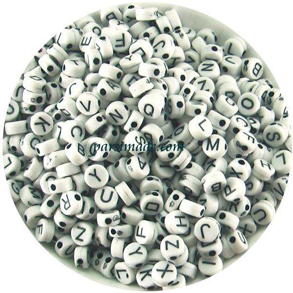 مهره دایره ای سفید حروف انگلیسی