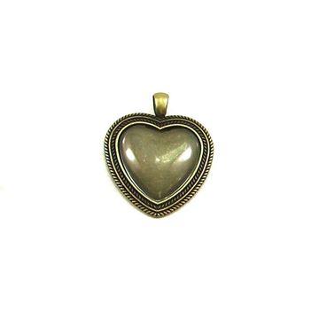 آویز برنزی گردنبند طرح قلب با شیشه محدب