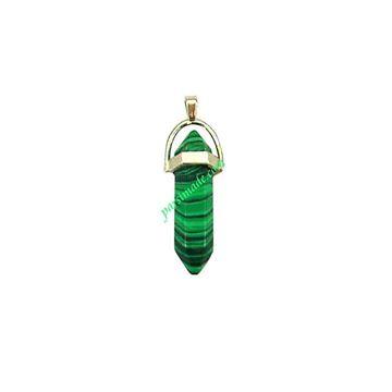 سنگ چاکرا سبز رگه دار با آویز نقره ای