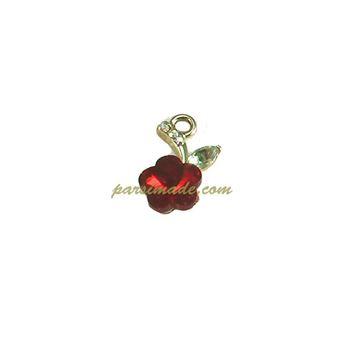 آویز طلایی گل قرمز